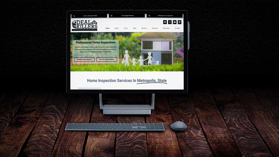 home inspector website home page